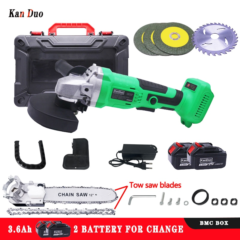 KANDUO Inner diameter 22.2mm cordless brushless angle grinder chain saw Compatible with makita18v battery