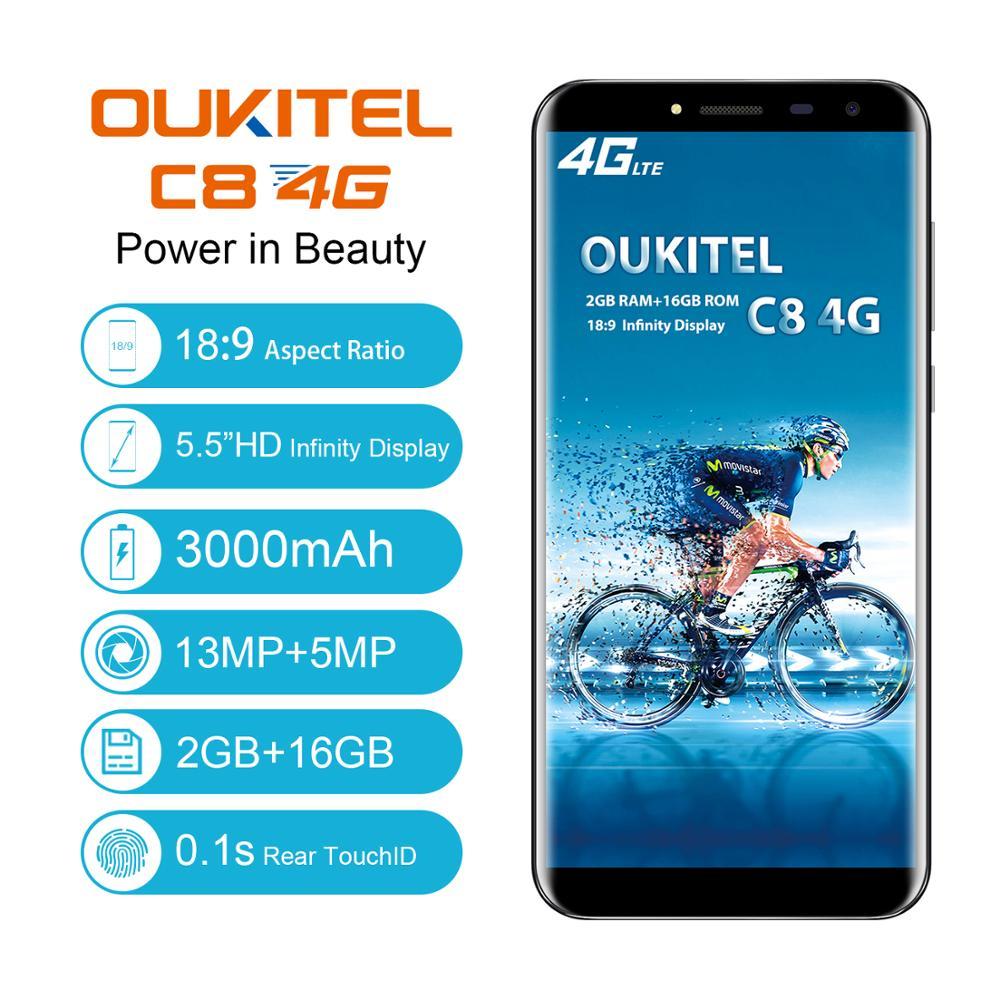 Oukitel c8 4g smartphone 5.5 polegada 189 relação 3000 mah 2g ram 16g rom celular 13mp 5mp impressão digital desbloquear telefone móvel
