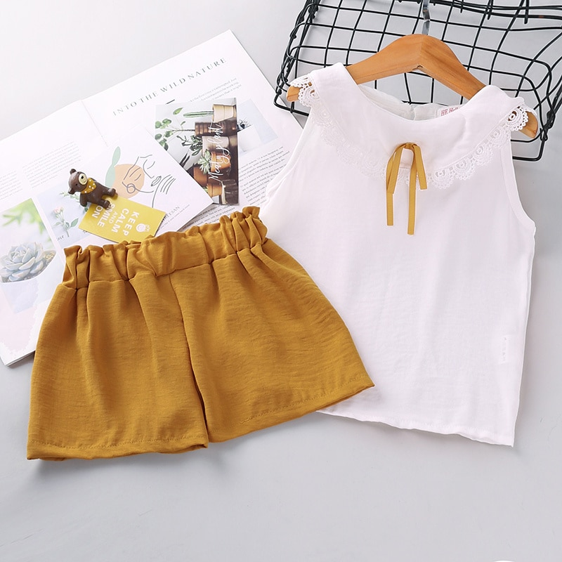 2 Piece Summer Outfit Set 1-6Y Baby Kid Girl Fashion Clothes Solid Color Vest Lace Trim Doll Collar Tops Elastic Short Pants