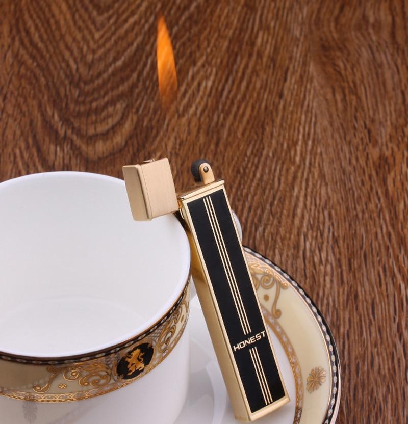 Neue Ehrlich schleifen rad leichter metall butan refill gas leichter männer rauchen geschenk BOX rot flamme mini schlanke tragbare