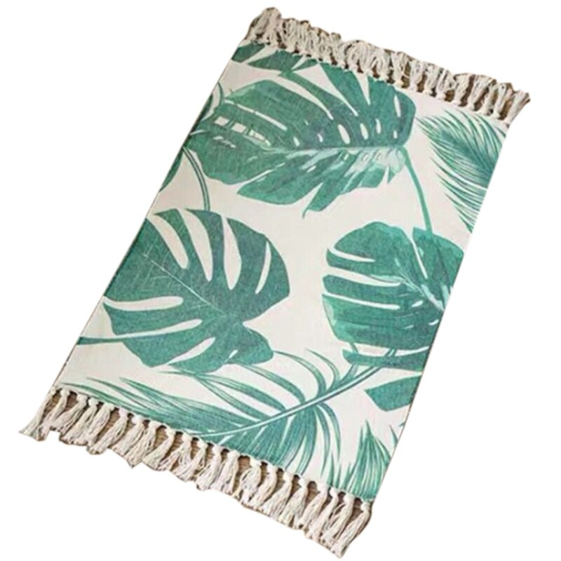Retro Bohemian Hand Woven Cotton Linen Carpets Tassel Bedside Rug Geometric Floor Mat Living Rooms Bedrooms Decor