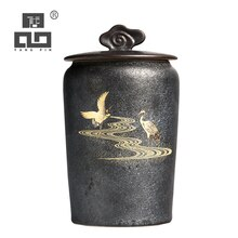 TANGPIN vajilla negra de cerámica caddies de té grúa recipientes de té chino kung fu accesorios de té