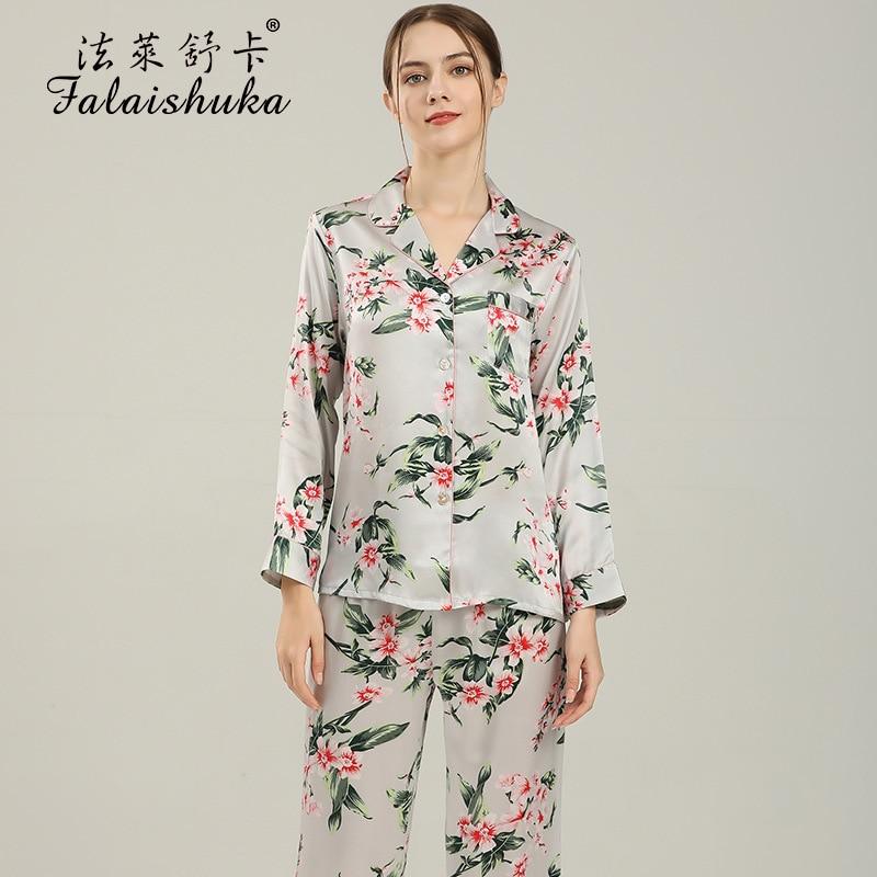 بيجامة حريرية نسائية ، طقم ملابس نوم من قطعتين ، طباعة زهور ، أكمام طويلة ، ملابس منزلية ، مجموعة صيف 2021 الجديدة