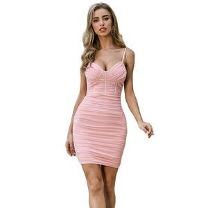 New Summer Bandage Dress Women Sexy Sleeveless Spaghetti Strap Light Pink Club Celebrity Evening Party Dress Vestidos