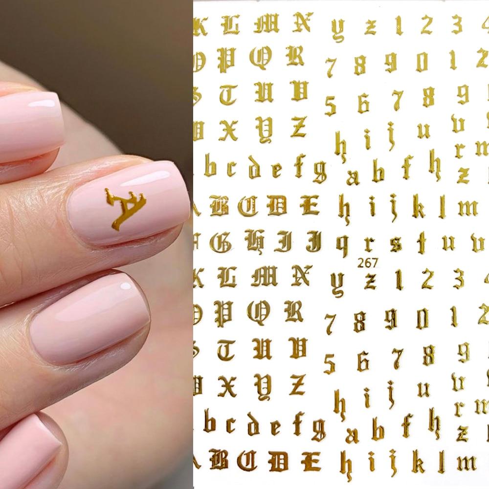 Uds.-pegatinas de Arte de uñas de fuente antigua dorada y inglesa, calcomanías...
