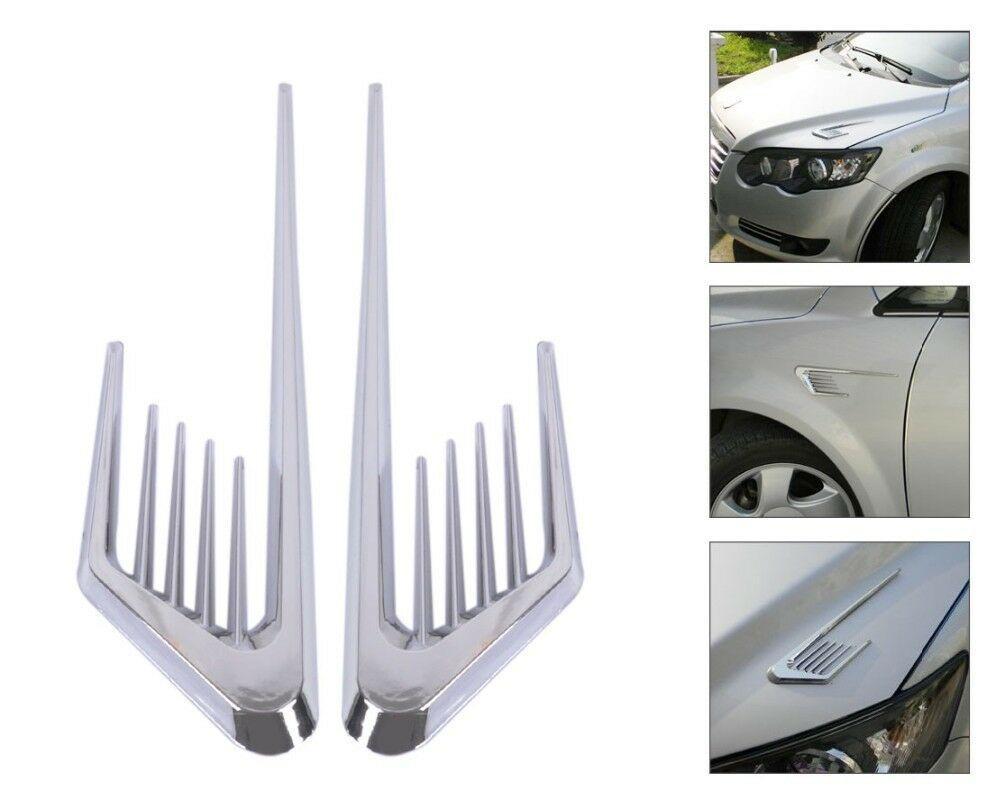 2 pçs universal carro cromo prata pára-choques do carro lado do corpo falso ventilação fluxo de ar admissão capa adesivo ventilação fender capa adesivo