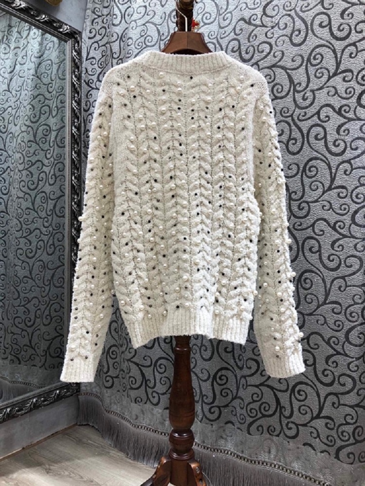 Tops Fashion New Sweaters 2020 Autumn Winter Pullovers Women Twist Knitting Beading Deco Long Sleeve Casual White Black Jumpers enlarge