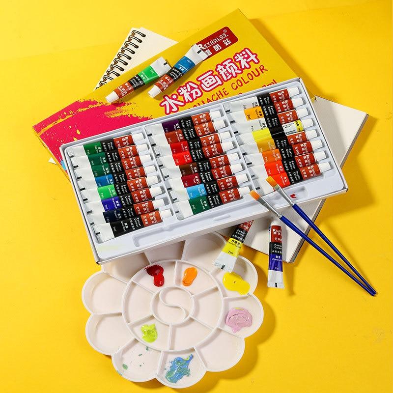 худи print bar gouache paint Gouache Paint 12/18/24 Colors Gouache Paint Set 7ML Gouache Tube Pigment with Paint Brush for Artist Student School/Art Supplies