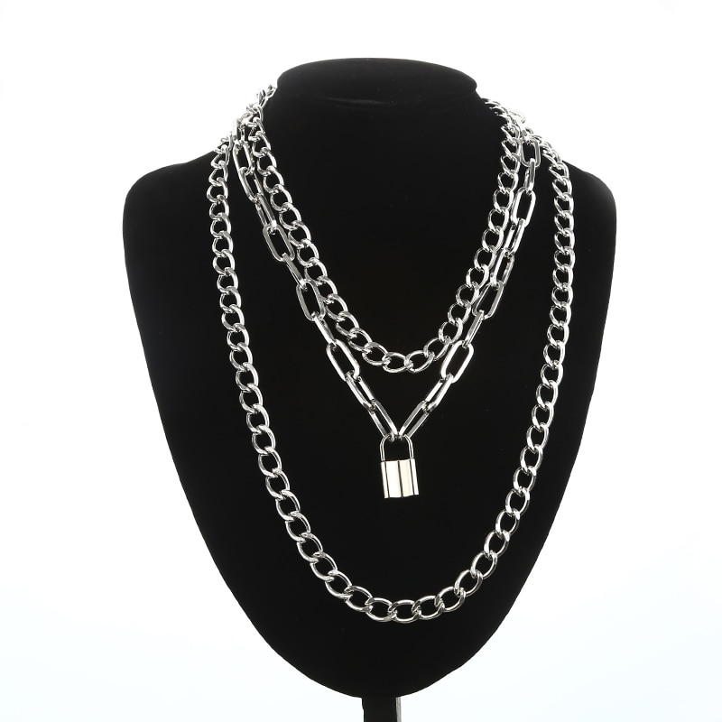 aliexpress - Layered Chain Necklace Neck Chains Lock Pendant  Jewelry For Women Punk Choker Padlock Goth Jewelry Grunge Aesthetic Accessories