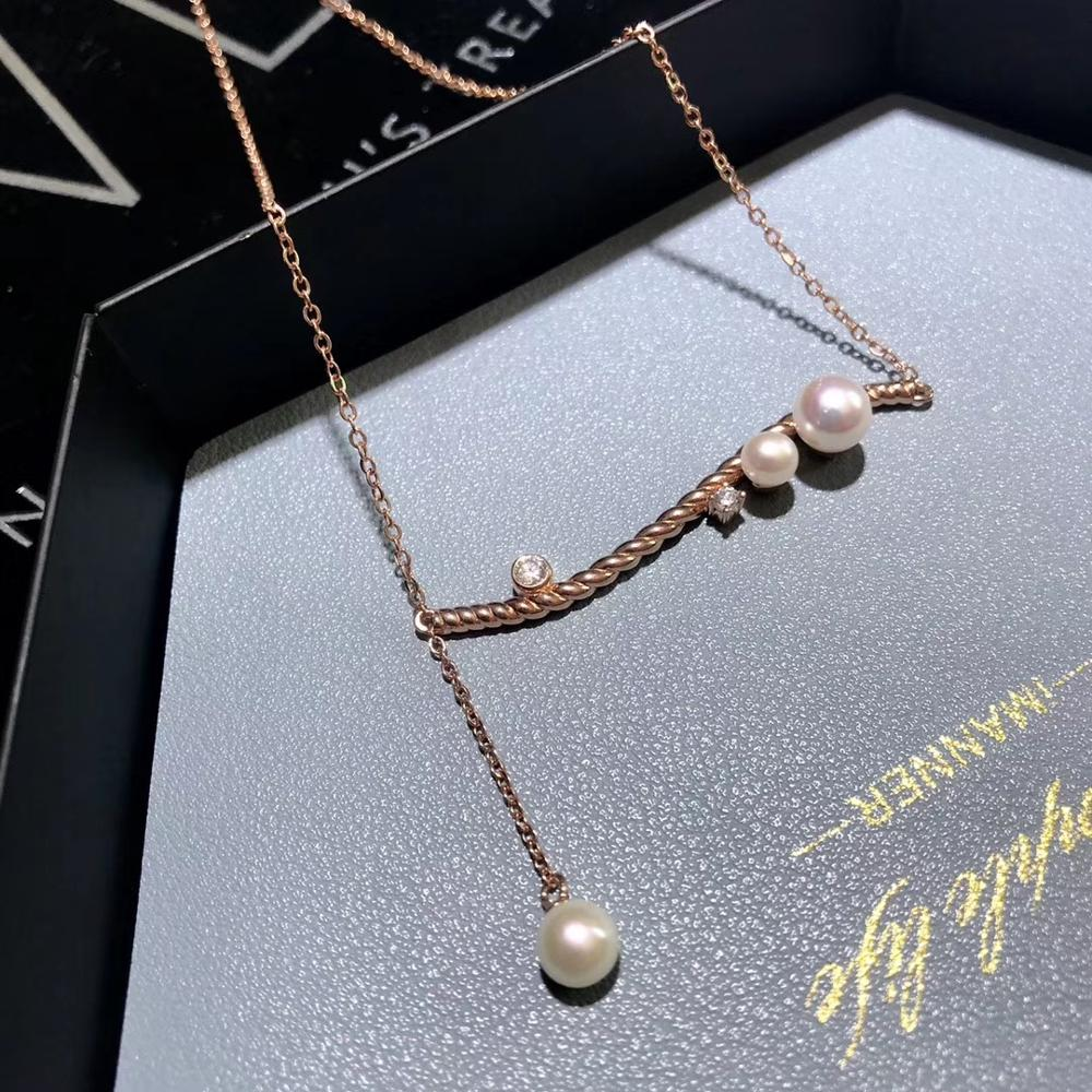 Collar de perlas de agua dulce S925, collar de perlas Akoya cultivadas en plata, collar de mujer con estilo de ondas curvas para regalo de cumpleaños