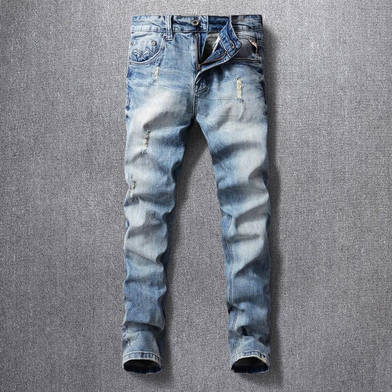 Европейские винтажные модные мужские джинсы в стиле ретро светло-голубые Эластичные зауженные рваные джинсы мужские корейские винтажные Д...