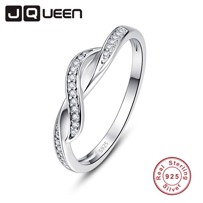 JQUEEN, Plata de Ley 925 auténtica, Vintage, circón blanco, pavimento infinito, anillos para mujer, joyería fina, anillo clásico para el dedo de la boda