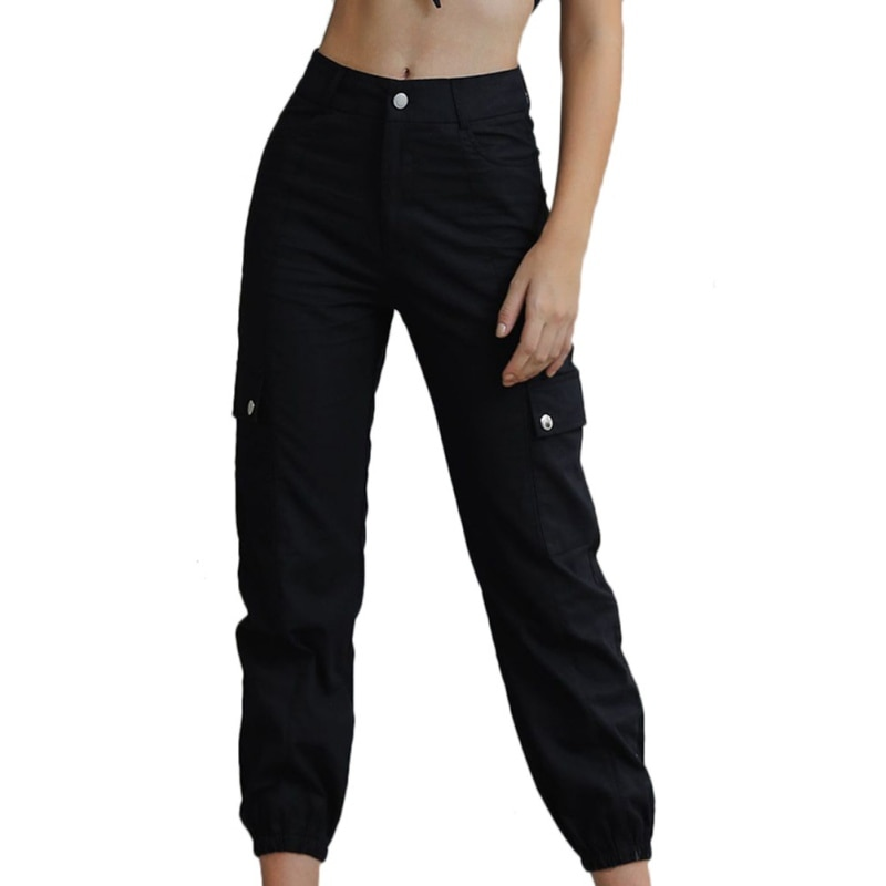 Women Cargo Pants Ladies High Waist Pockets Button Fly Loose Plus Size Beam Pants