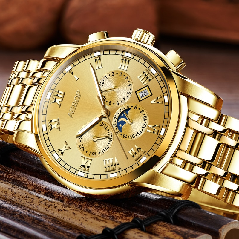 Carnival Brand Luxury Watches Men Fashion Waterproof Gold Silver Calendar Automatic Mechanical Wristwatch 2021 Relogio Masculino enlarge