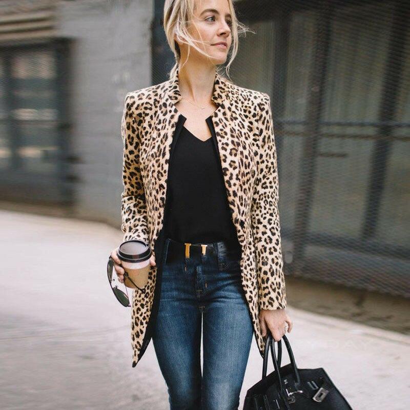 Fashion Women Leopard Print Long Sleeve Suit Coat Biker Jacket Outwear Tops Women's Business Coat Women's Suit Top Clothing