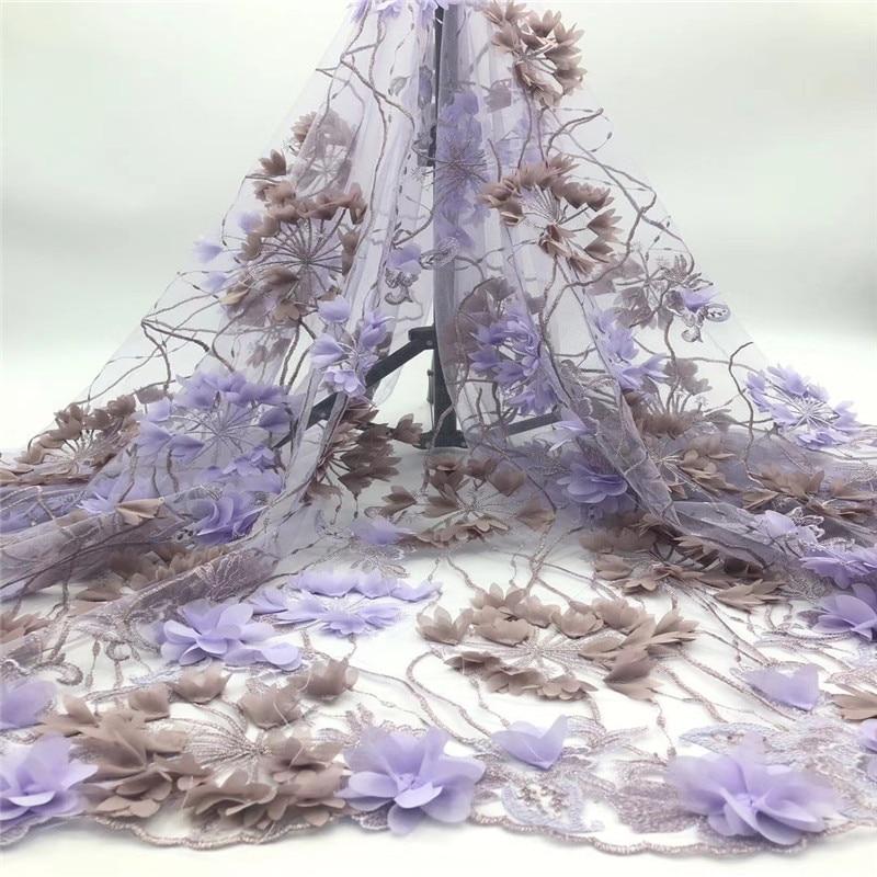 Aplique encaje 3D tul africano tela de encaje de alta calidad Material de encaje Net bordado francés Nigeria tela de encaje jh68-66