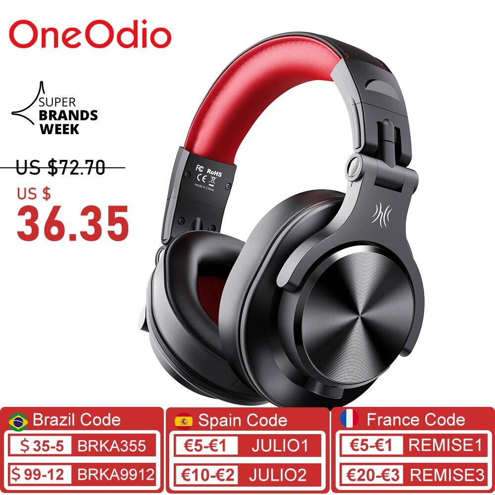 Oneodio A70-سماعات DJ احترافية محمولة ، قابلة للتعديل ، لاسلكية/سلكية ، سماعة رأس بلوتوث 5.0 ، لتسجيل الشاشة