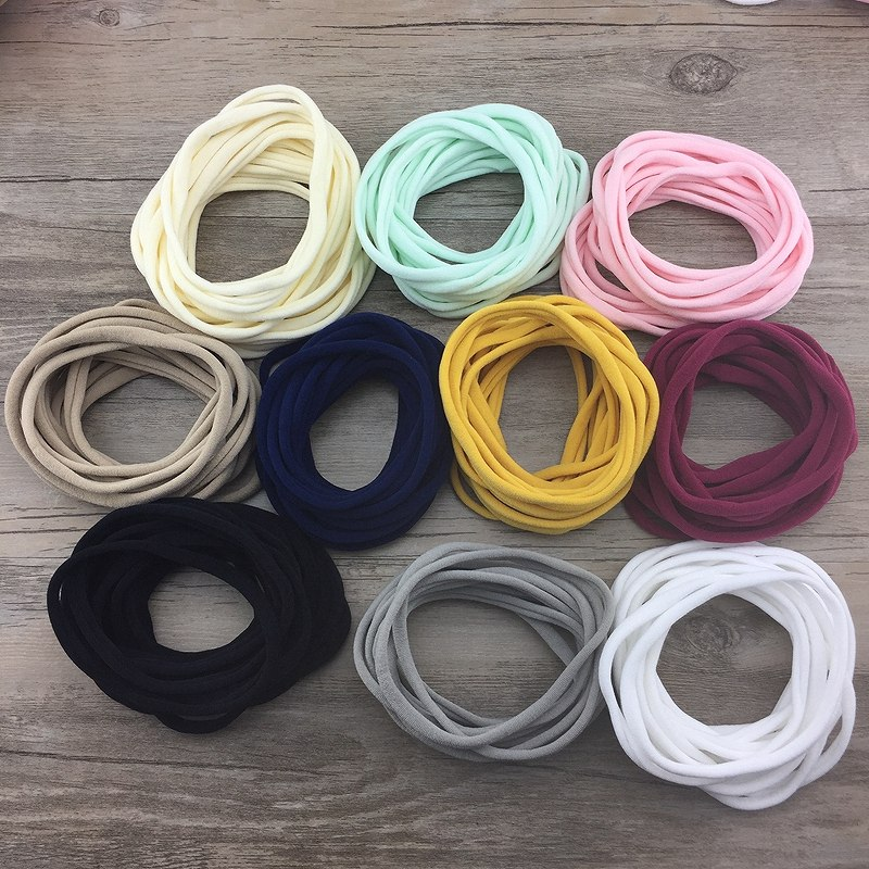 10pcs/lot Super Soft Thin Nylon Headbands Elastic Skinny Headband For Kids Solid Hairband Customized Hair Accessories Girls