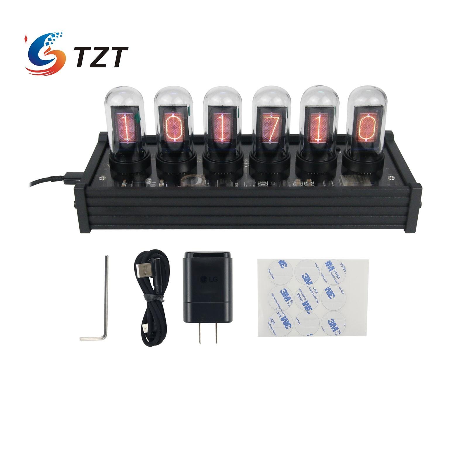 TZT EleksTube IPS RGB Nixie أنبوب ساعة توهج أنبوب ساعة مخصصة الطلب أنماط الإبداعية ديكور الهدايا