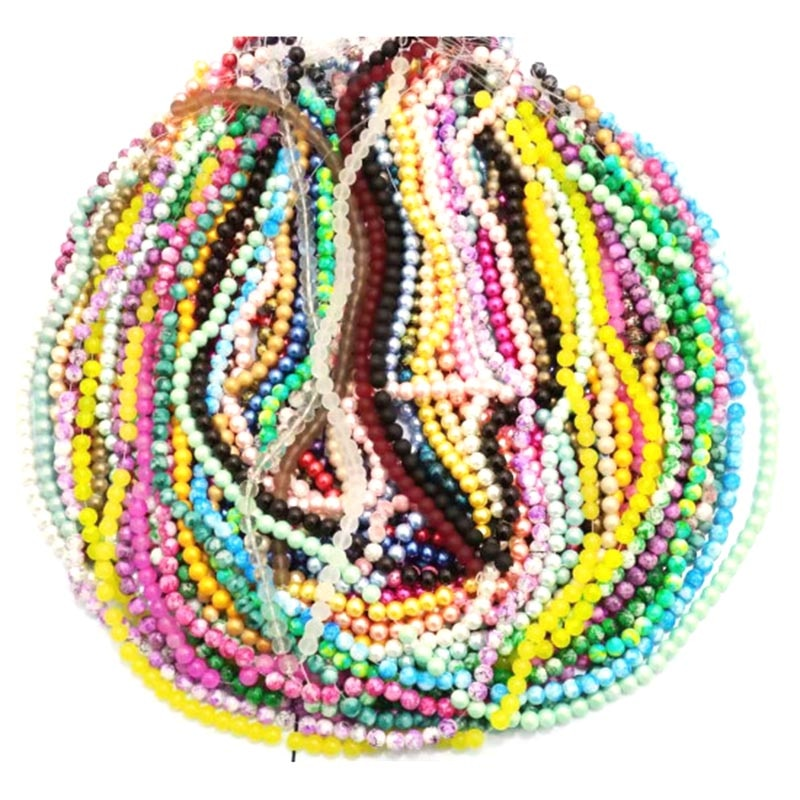 Review 100 Strand Mixed Glass Beads 38pcs each strand in 10mm for women diy jewelry M11