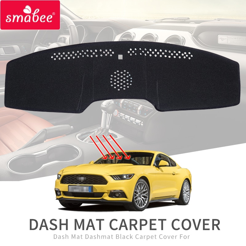 Smabee Car Dash Mat for Ford Mustang 2015 2016 2017 2018 2019 Non-Slip Dashmat Carpet Cover Sun Shade DashBoard Pad Cover Black
