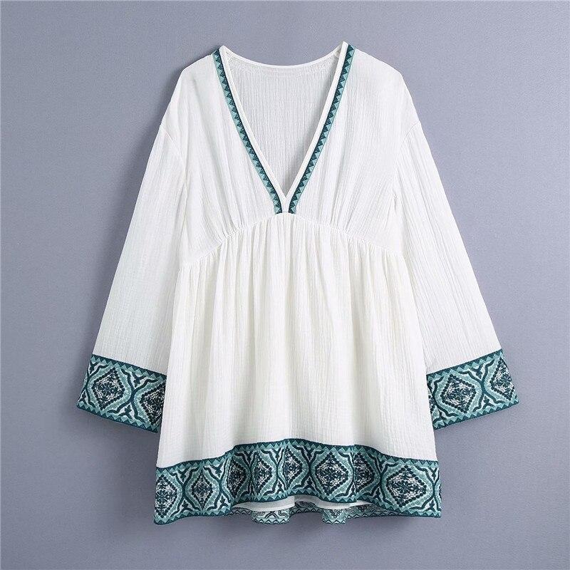 فستان مطرز صغير محكم للنساء Za 2021 خليط طويل الأكمام نفخة فستان صيفي فضفاض امرأة مطوي فساتين بيضاء