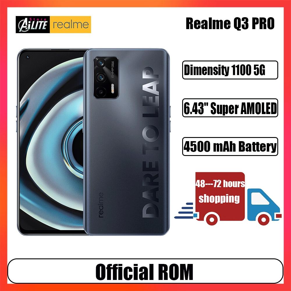 Перейти на Алиэкспресс и купить Новинка Оригинал Realme Q3 PRO 5G смартфон 6,43 дюймов Super AMOLED 120 Гц Dimensity 1100 5G 4500 мА/ч, 64MP Камера 30 Вт Быстрый Зарядное устройство
