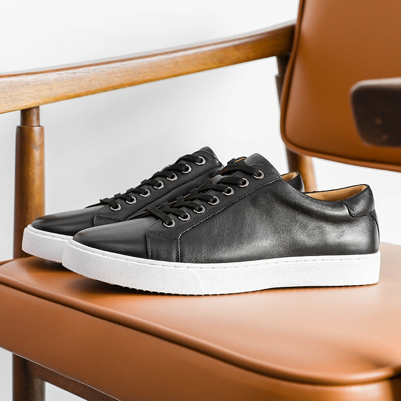 DESAI حذاء رجالي ماركة جلد طبيعي أبيض أحذية مشي غير رسمية للرجال الأربطة حتى الصيف تنفس الفاخرة الأصلي الأسود الرسمي