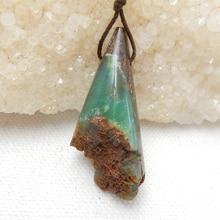 Raw Chrysoprase драгоценный камень кулон, натуральный камень ювелирные изделия, 43x18x12 мм, 10 г