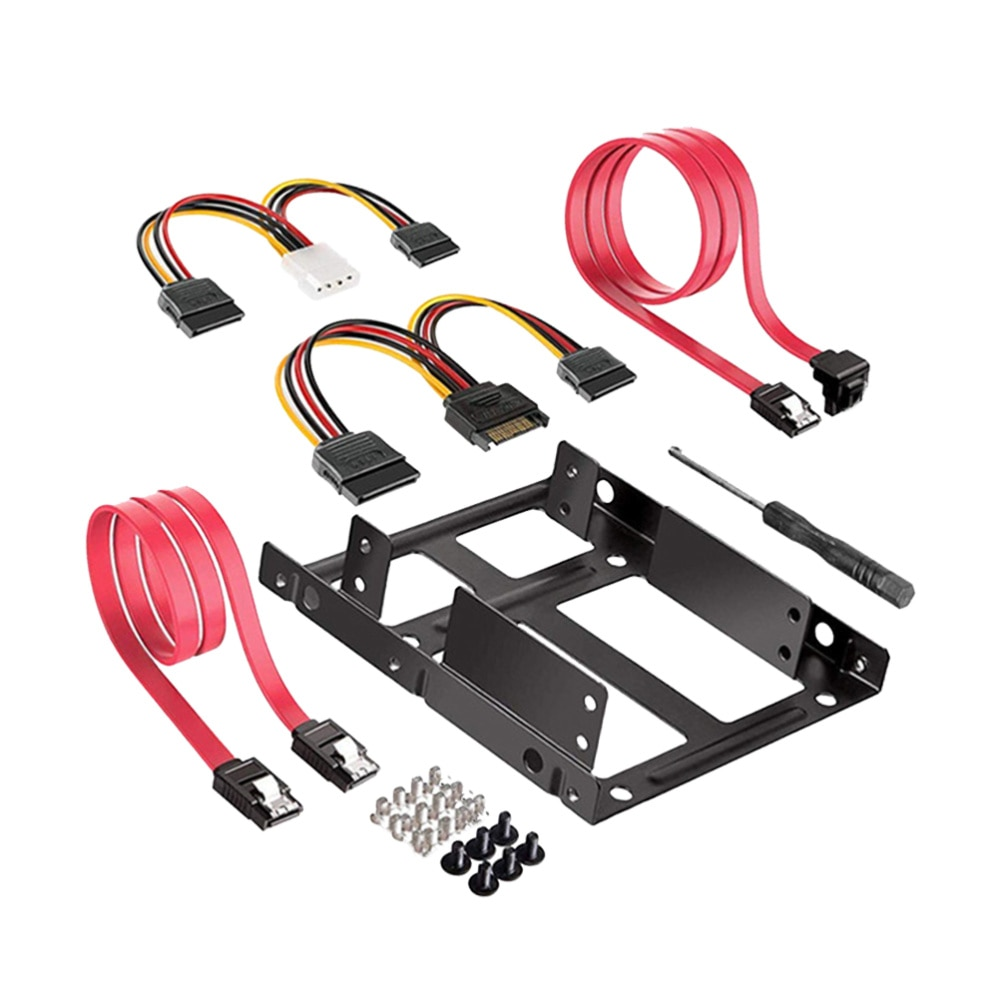 1 unidad, 2,5 giro, 3,5 pulgadas, doble disco SSD, Compatible con Cable de disco duro SATA, Cable de alimentación destornillador + (negro sandía rojo)