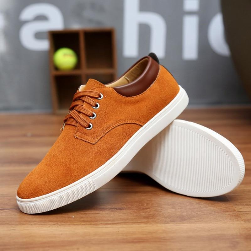 Moda Primavera/otoño zapatos de ante para hombre zapatos de cuero informales transpirables zapatos planos vulcanizados para hombres de talla grande 2020