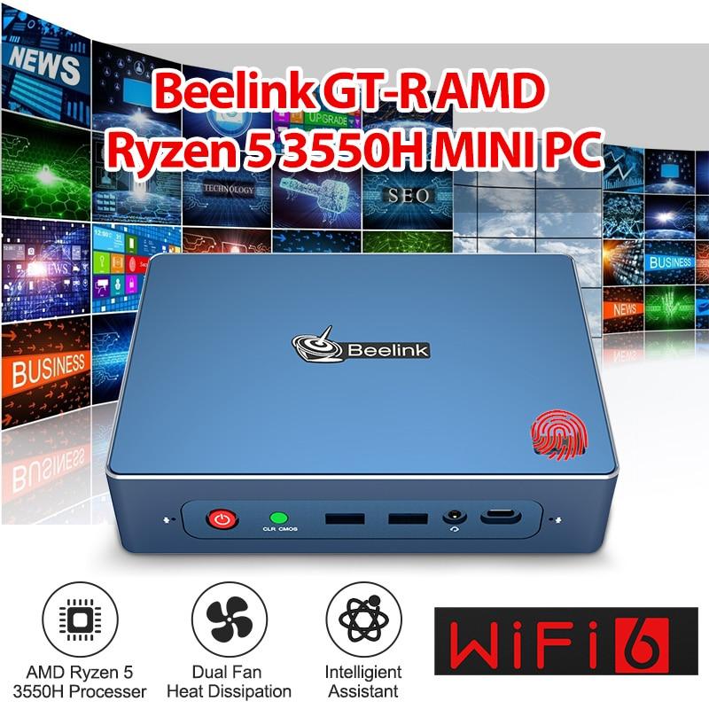 Beelink GTR Windows 10 MINI PC AMD Ryzen 5 3550H Vega 8 WIFI 6 Fingerprint Login 4K Voice Interaction Gaming MINI PC TV BOX