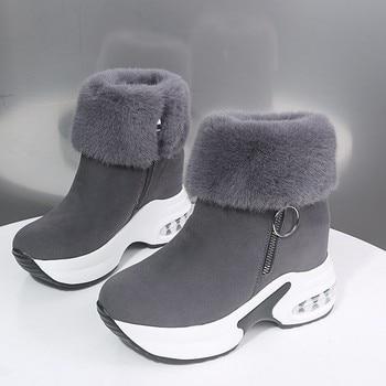 Женские ботильоны, теплая плюшевая зимняя обувь для женщин, ботинки на высоком каблуке, женские ботинки для снега, зимняя обувь, увеличивающая рост