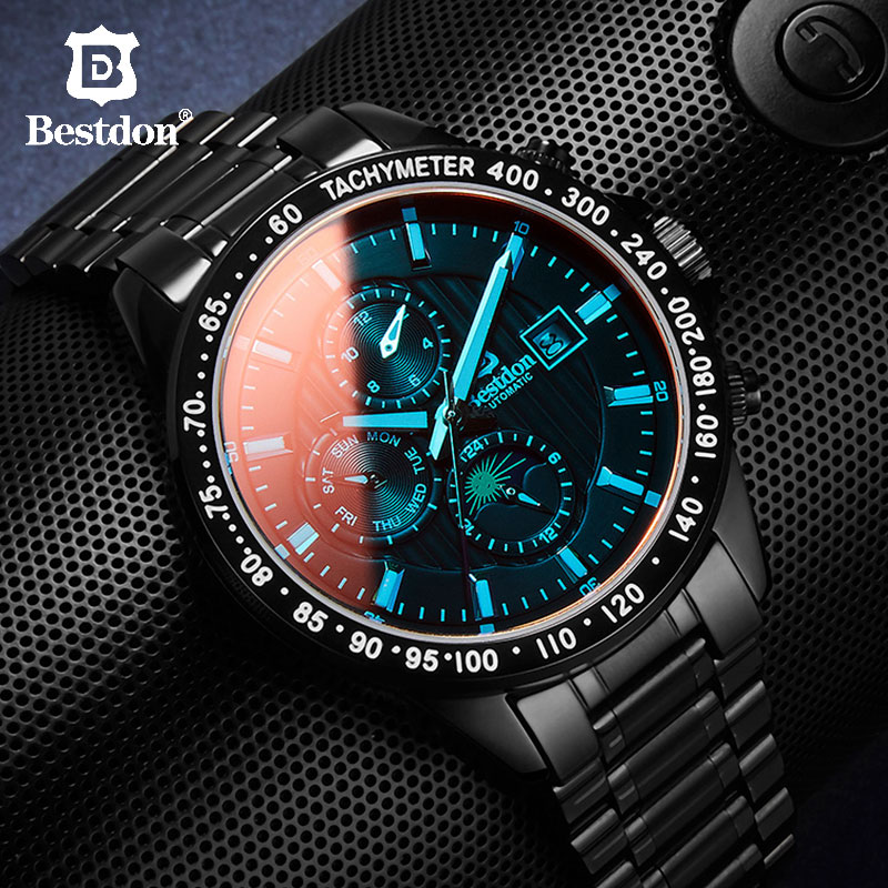 Bestdon Automatic Mechanical Men Military Watch Mens Fashion Stainless Steel Sports Watches 2019 Lux