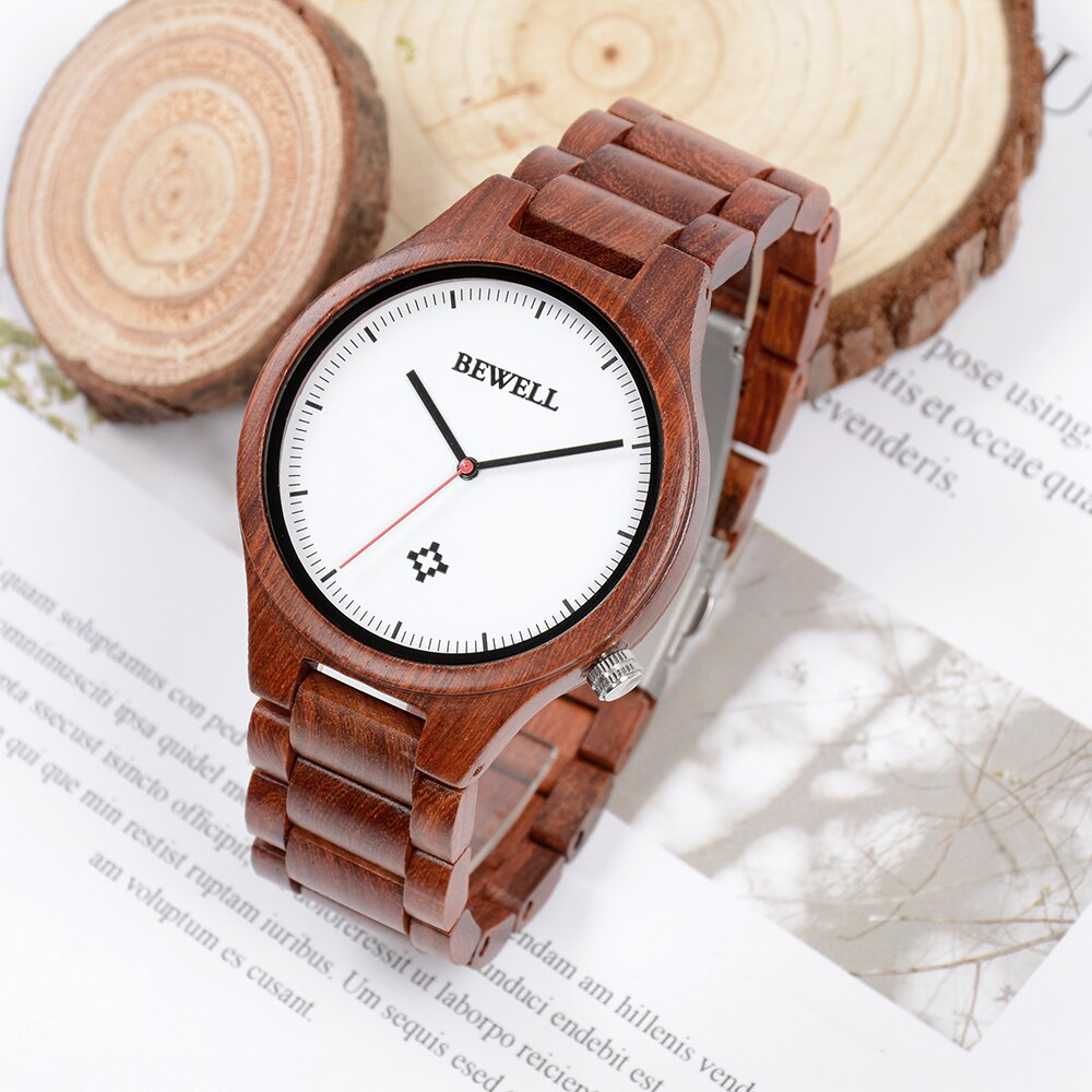 Novo bewell relógio de madeira masculino relógio de pulso de quartzo da marca de luxo vermelho sândalo relógio de madeira masculino presente para o amante
