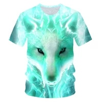 2021 new luminous wolf print t shirt for men and women 3d short sleeved t shirt round neck fashion casual brand clothing