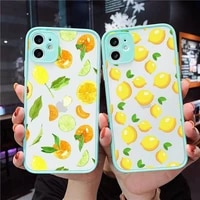 lemon phone case for iphone 12 11 mini pro xr xs max 7 8 plus x matte transparent blue back cover