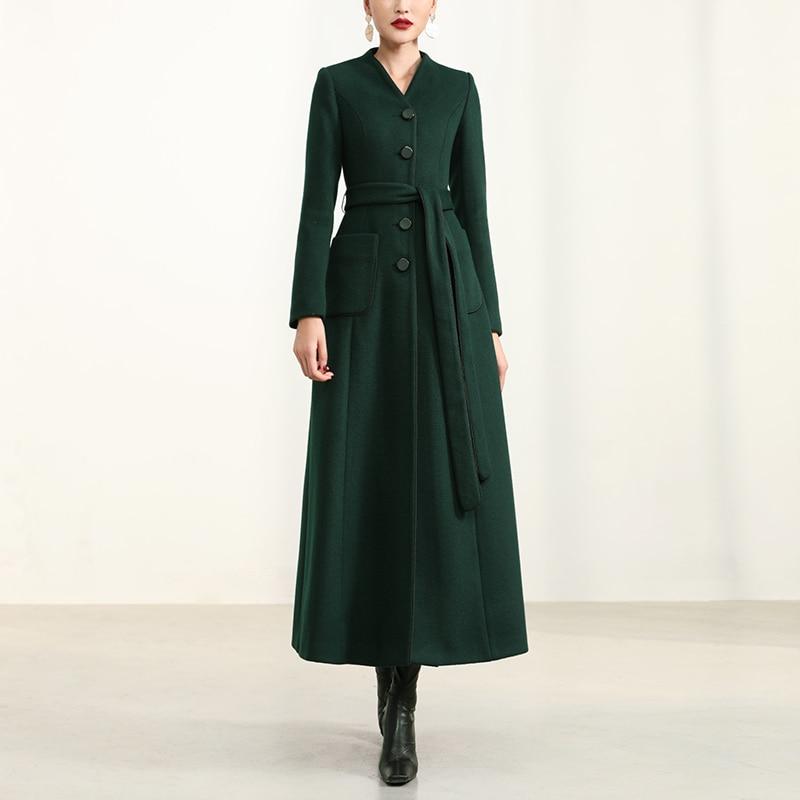 معطف جوكر نسائي طويل من الصوف ، ملابس راقية ، مجموعة شتاء جديدة 2020