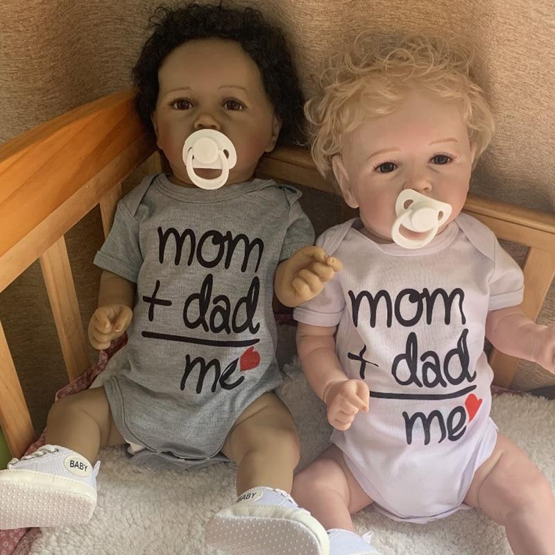 56CM bebe reborn Dolls Full body silicone reborn baby doll with teeth two skin colors lifelike girl boy newborn dolls gift NPK