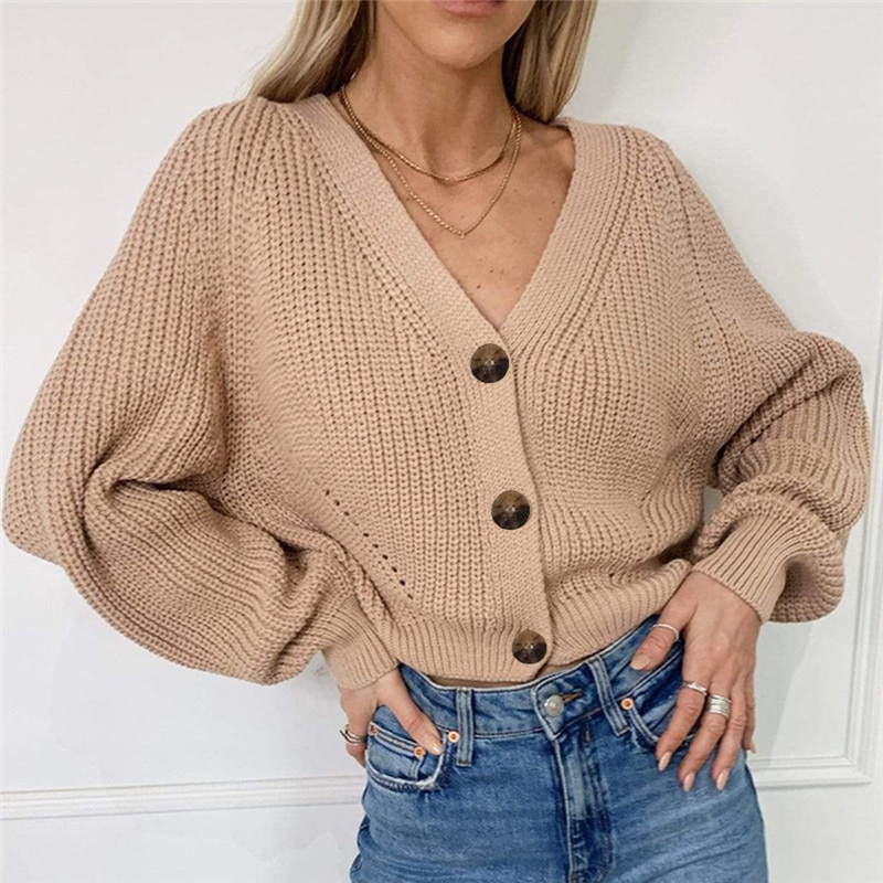 2021 Women Cardigan Winter Cashmere Sweater Long Sleeve V neck Womans Cardigans jersey knit Jumpers Pull Femme Coat