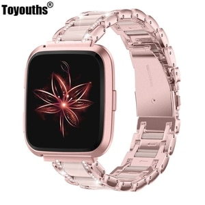 Toyouths Metal Crystal Band for Fitbit Versa Band Women Men Luxury Business Strap Replacement Wristbands for Fitbit Versa 2