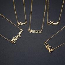 Personalisierte Name Halskette Edelstahl Charme Custom Name Anhänger Schmuck Geschenk Für Mädchen Kinder