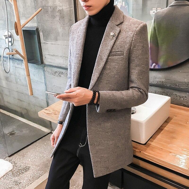 2021 Новинка весны осень-зима мужское шерстяное пальто для мальчиков, длинное ветронепроницаемое пальто, хлопковая плотная теплая куртка пал...