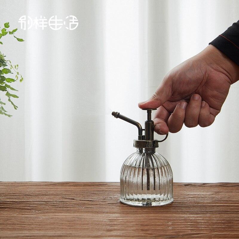 Regadera de vidrio Retro, hervidor de agua portátil, botella rociadora Mister, aspersor verde para plantas, herramientas de jardinería