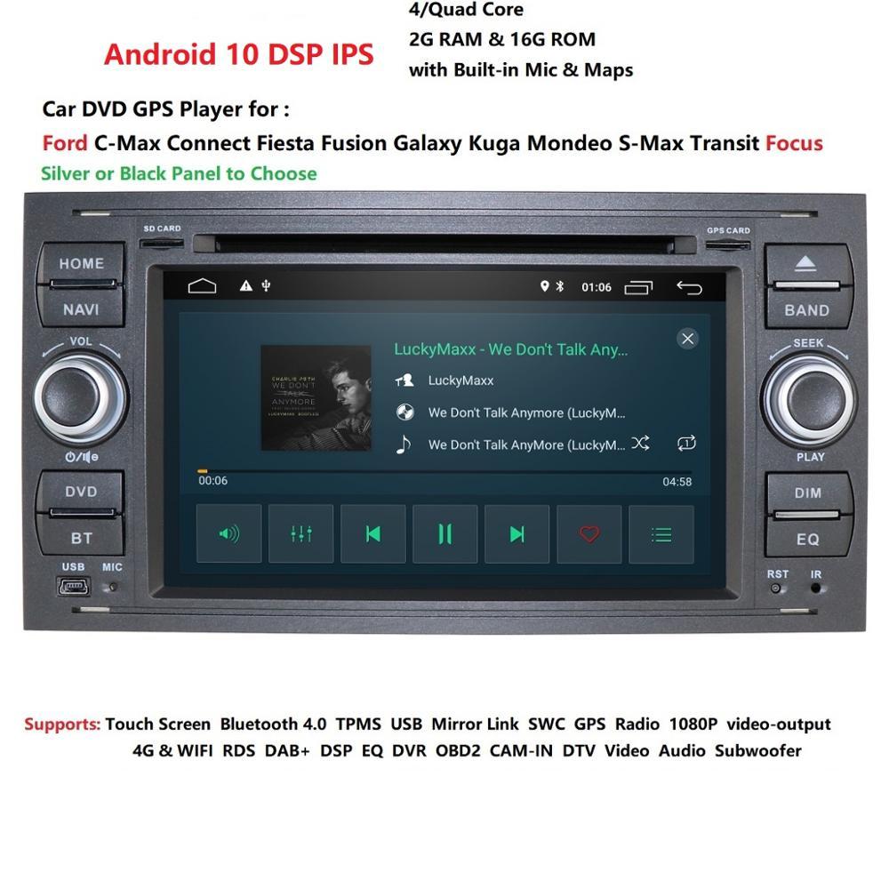 Kit de multimídia automotivo com android 10, 2 din, rádio, gps, dvd, para ford focus 2, ford fiesta, mondeo 4, c-max s-max fusion transit kuga navegação multimídia