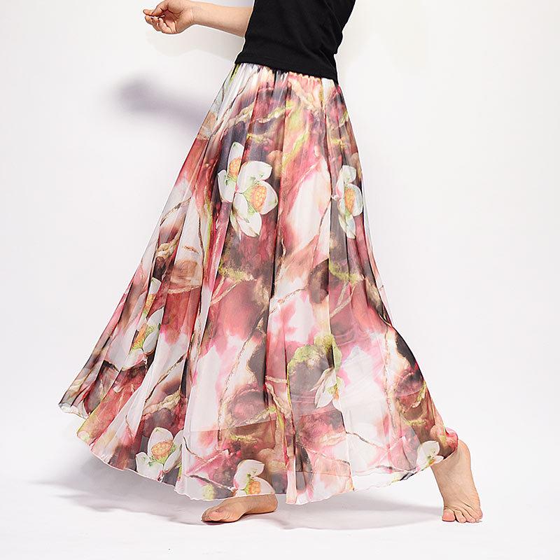 Verano Mujer Falda larga chifón Saia playa Bohemia Maxi faldas 2018 alta cintura tutú Casual Vestidos Harajuku Saia Longa