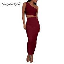 Bangniweigou Ladies One Shoulder Crop Top Midi Skirt 2 Piece Set Women Backless Tank Top classy Club Two Piece Skirt Set Outfits