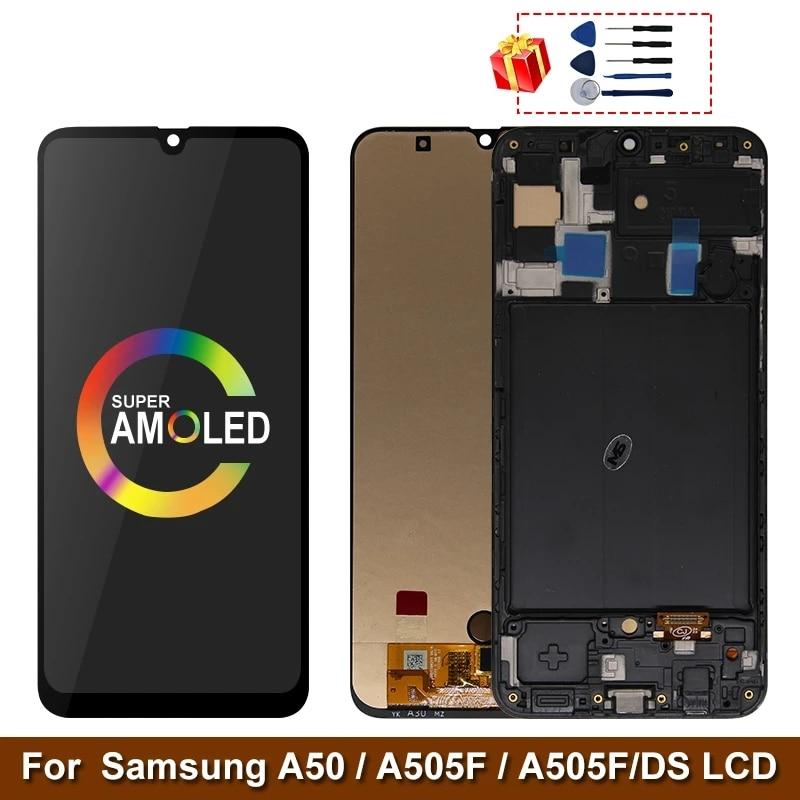 سوبر AMOLED لسامسونج غالاكسي A50 SM-A505FN/DS A505F/DS A505 LCD شاشة تعمل باللمس محول الأرقام مع الإطار لسامسونج A50 lcd