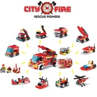 12pcs city fire engine building block toys surprise egg engineering vehicles model diy blind box toy childrens birthday gift