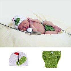 Crochê foto adereços roupas recém-nascidos do bebê esportes estilo de golfe trajes casuais malha infantil dos desenhos animados fotografia roupas